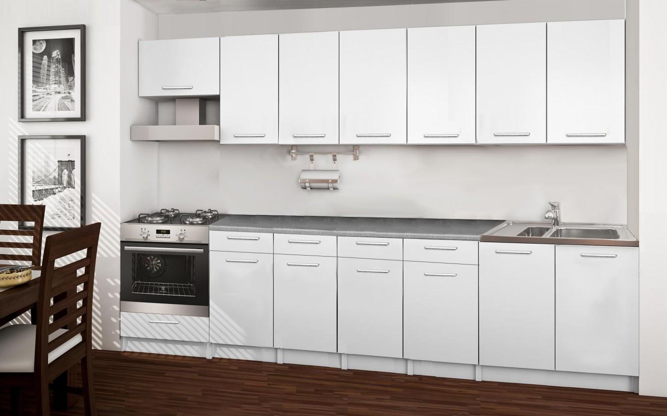 Rovná Basic - kuchyňský blok D, 300 cm (bílá)