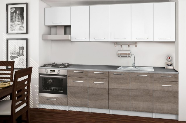 Rovná Basic - Kuchyňský blok E, 260 cm (bílá, trufle, titan)