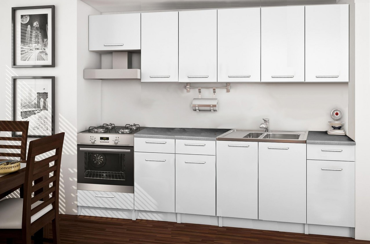 Rovná Basic - kuchyňský blok E, 260 cm (bílá)