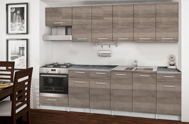 Rovná Basic - kuchyňský blok E, 260 cm (dub truffle)