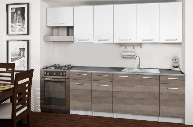 Rovná Basic - Kuchyňský blok F, 260/200 cm (bílá, trufle, titan)