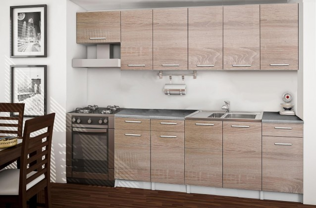 Rovná Basic - kuchyňský blok F, 260 cm (dub sonoma)