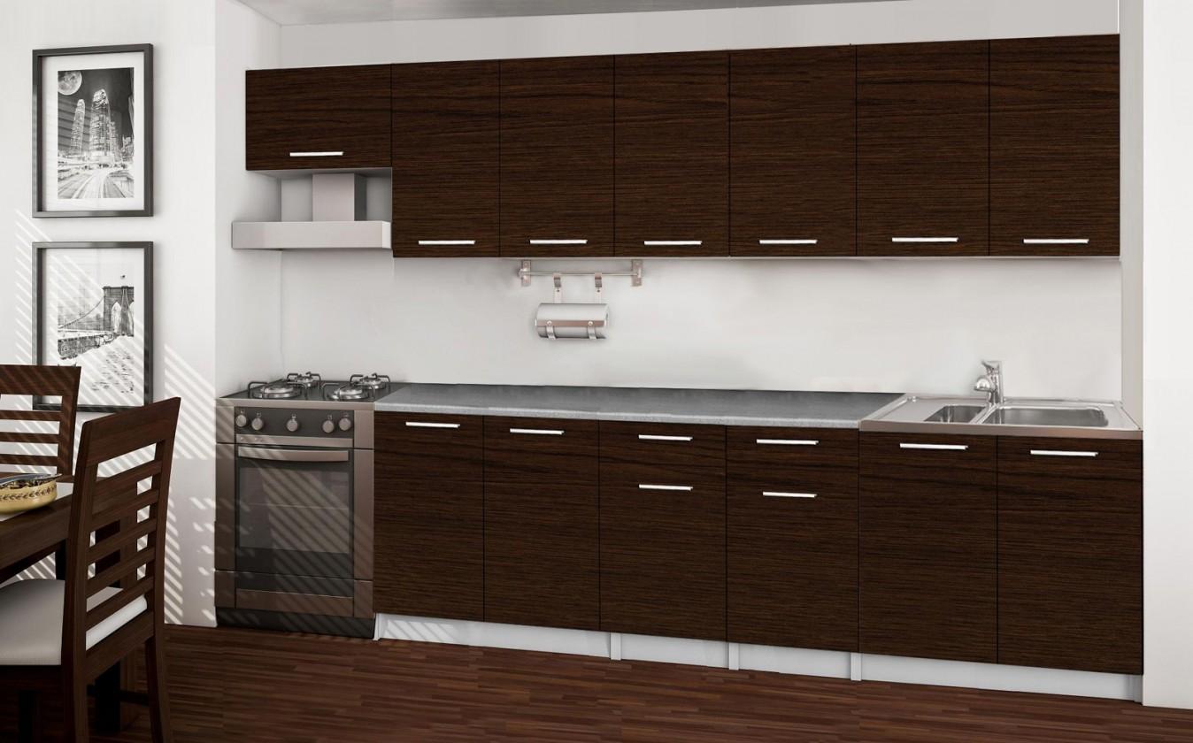 Rovná Basic - kuchyňský blok F, 300 cm (wenge)