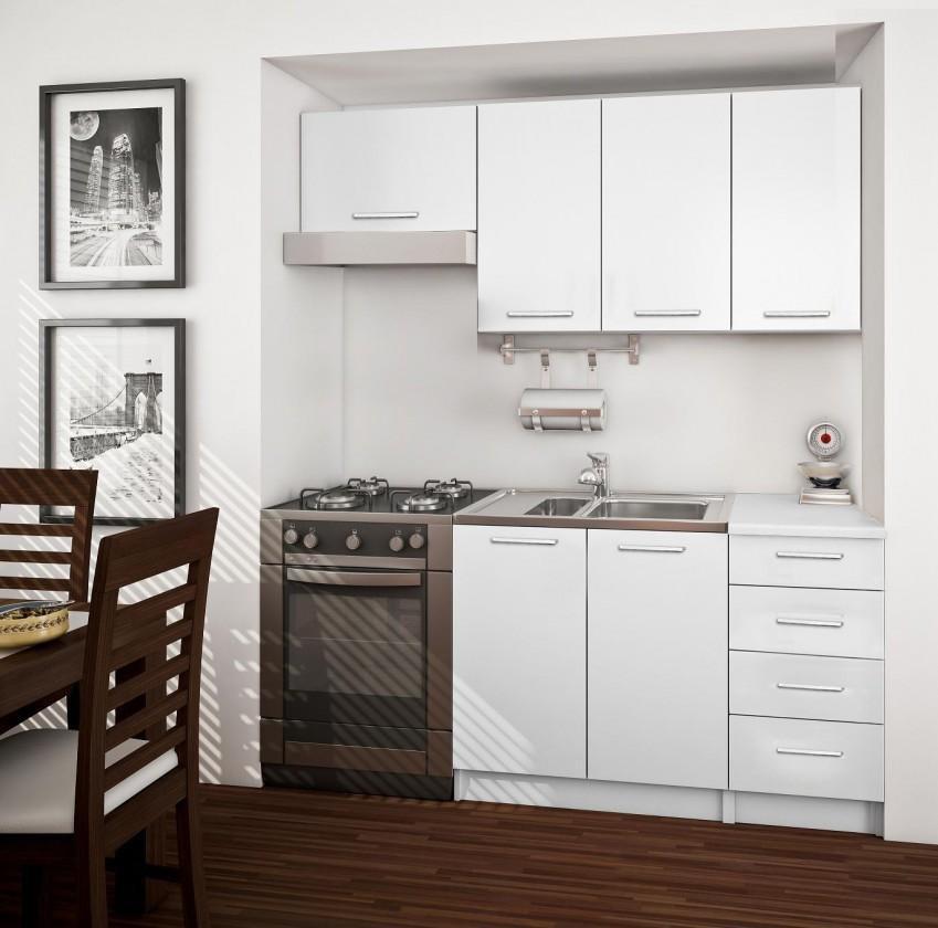 Rovná Economy 14 - Kuchyňský blok (korpus / front / deska bílá)