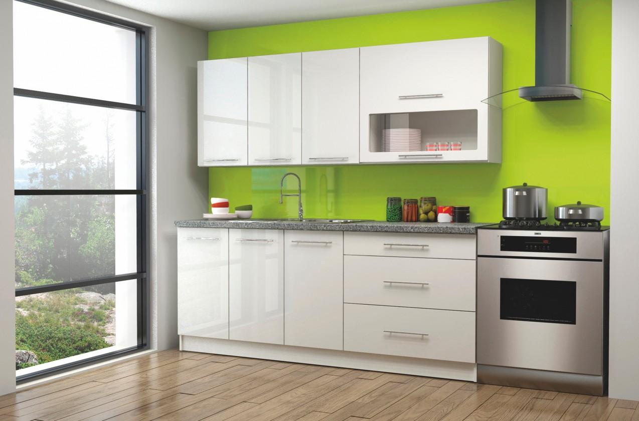 Rovná Elira - Kuchyňský blok 200 cm (bílá, šedý granit)