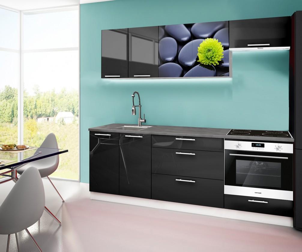 Rovná Emilia 2 - kuchyňský blok A 220 cm (černá, pracovní deska - titan)