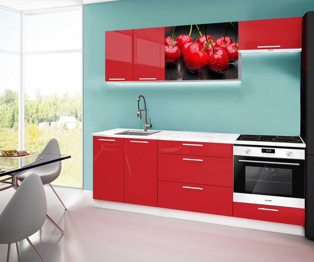 Rovná Emilia 2 - Kuchyňský blok A, 220cm (červená, mramor, třešně)
