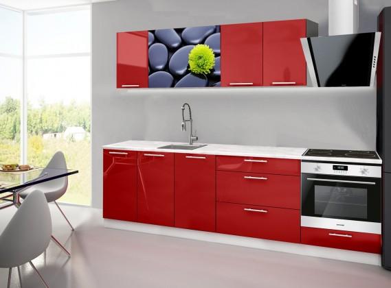Rovná Emilia 2 - Kuchyňský blok A, 260cm (červená, mramor, kameny)