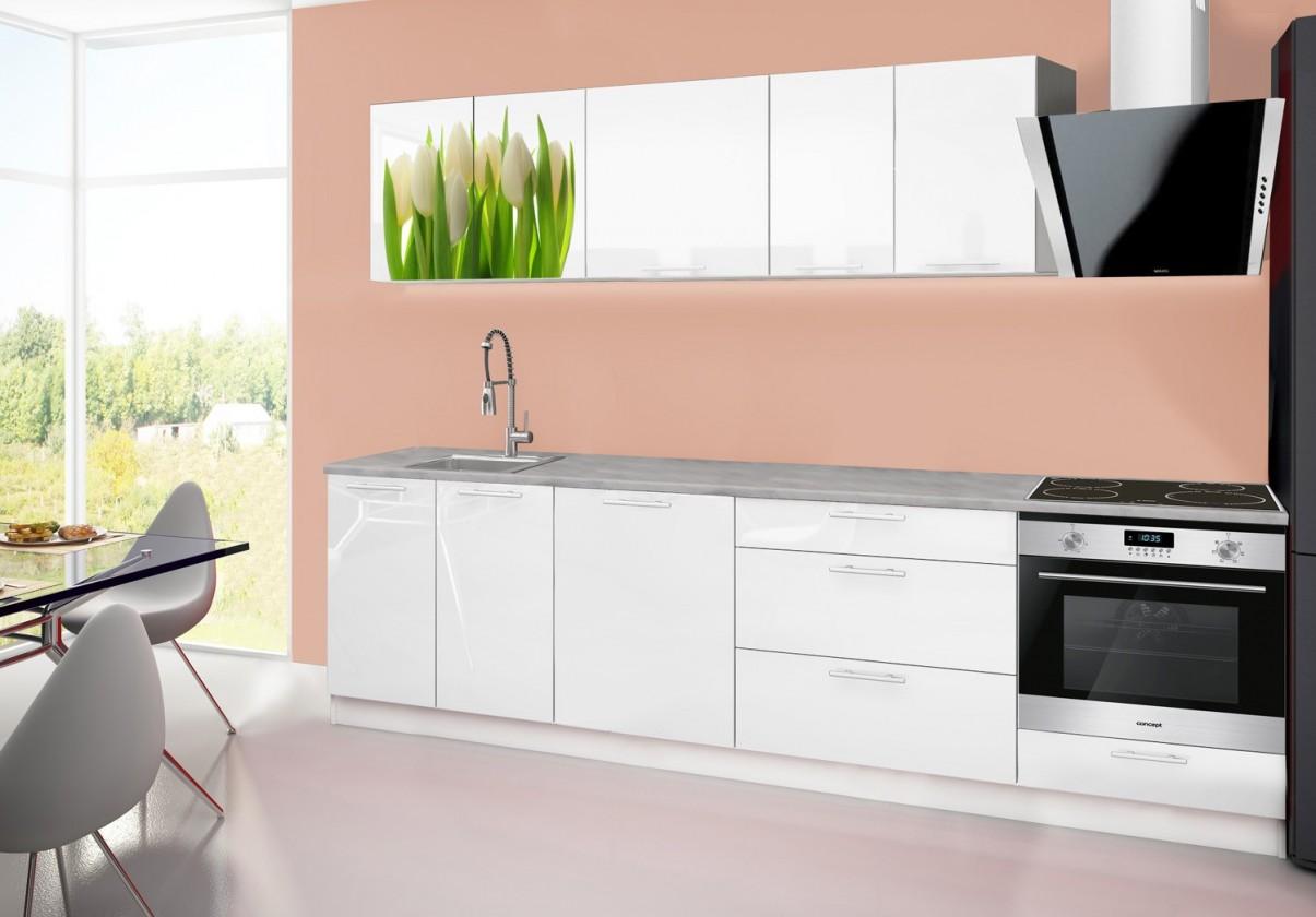Rovná Emilia 2 - Kuchyňský blok B, 280cm (bílá, titan, tulipány)