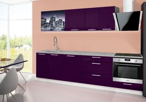 Rovná Emilia 2 - Kuchyňský blok B, 280cm (fialová, titan, NewYork)