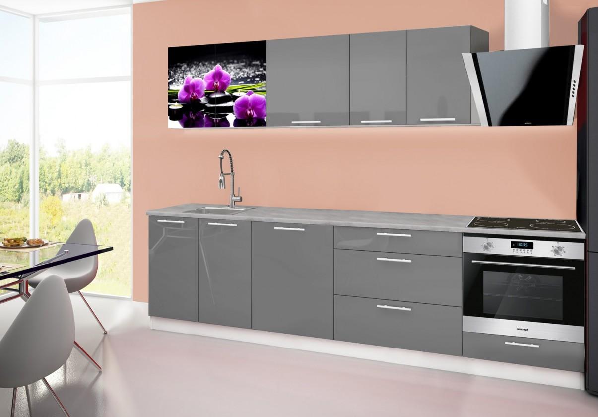 Rovná Emilia 2 - Kuchyňský blok B, 280cm (šedá, titan, orchidej)
