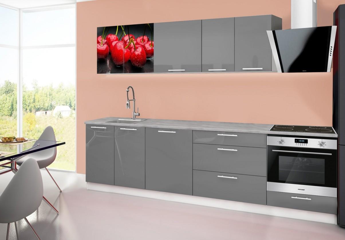 Rovná Emilia 2 - Kuchyňský blok B, 280cm (šedá, titan, třešně)