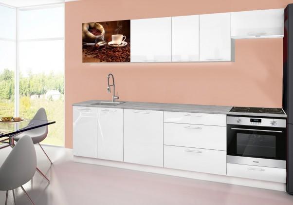 Rovná Emilia 2 - Kuchyňský blok D, 280cm (bílá, titan, káva)