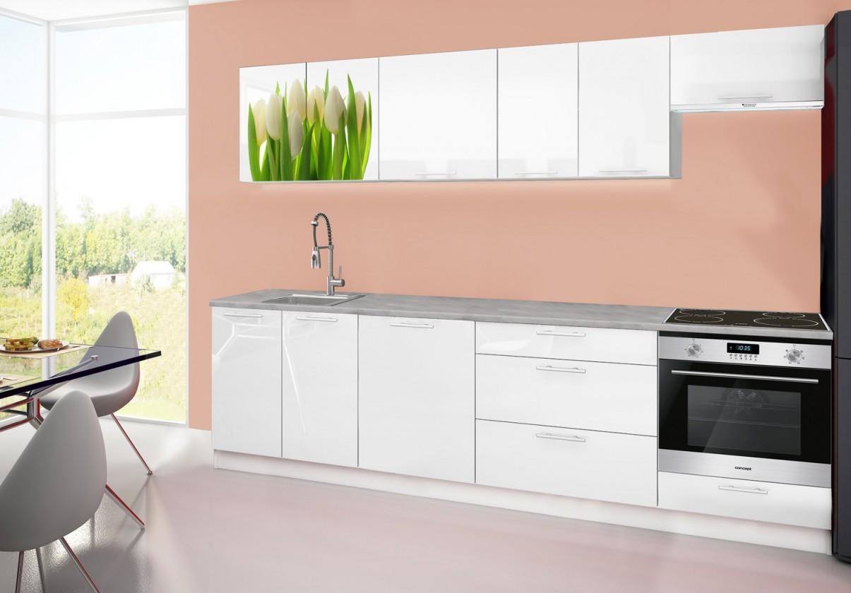Rovná Emilia 2 - Kuchyňský blok D, 280cm (bílá, titan, tulipány)