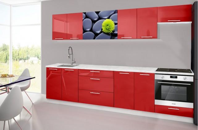 Rovná Emilia 2 - Kuchyňský blok H, 300cm (červená, mramor, kameny)
