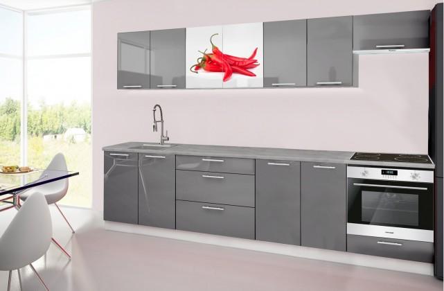 Rovná Emilia 2 - Kuchyňský blok H, 300cm (šedá, titan, chilli)