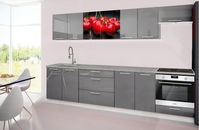 Rovná Emilia 2 - Kuchyňský blok H, 300cm (šedá, titan, třešně)