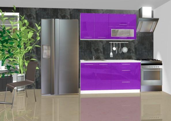 Rovná Emilia - Kuchyňský blok A, 1,6 m (fialová lesk)