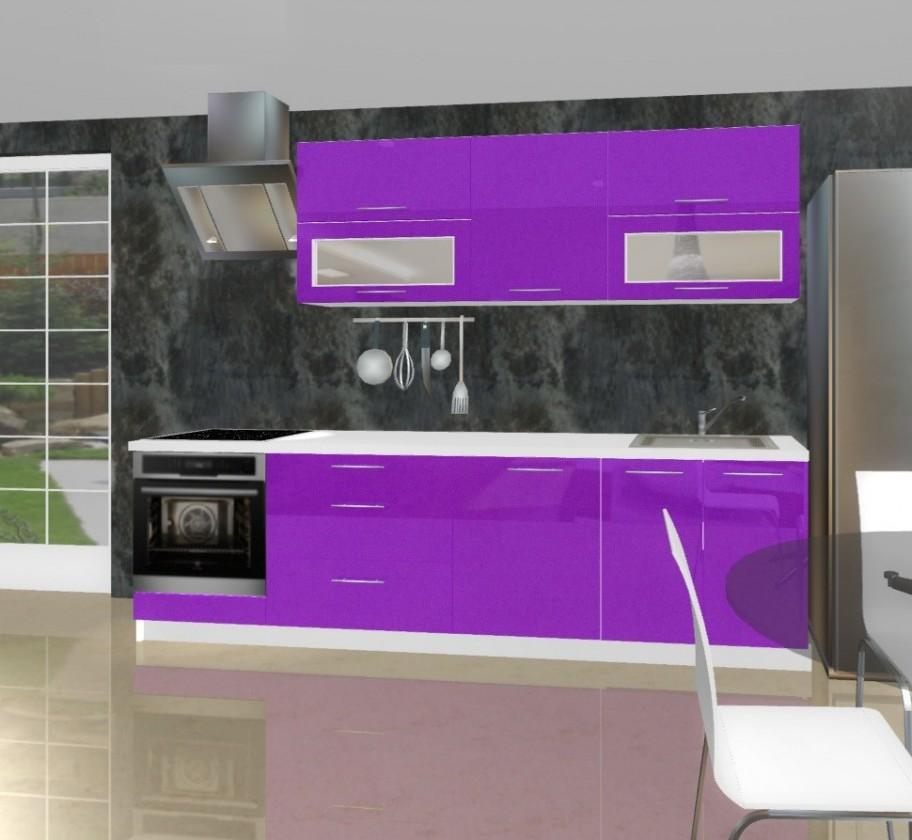 Rovná Emilia - Kuchyňský blok A pro vest. troubu, 2,6 m (fialová lesk)