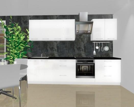 Rovná Emilia - Kuchyňský blok A pro vest. troubu, 3 m (bílá lesk)