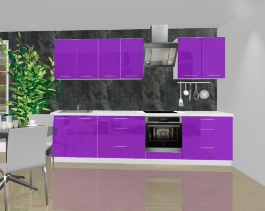 Rovná Emilia - Kuchyňský blok A pro vest. troubu, 3 m (fialová lesk)