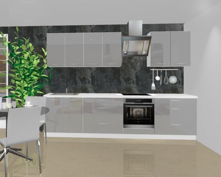 Rovná Emilia - Kuchyňský blok A pro vest. troubu, 3 m (šedá lesk)