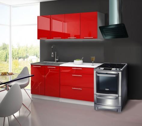 Rovná Emilia - Kuchyňský blok B, 1,6 m (červená lesk)