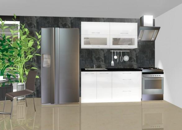 Rovná Emilia - Kuchyňský blok C, 1,6 m (bílá lesk)