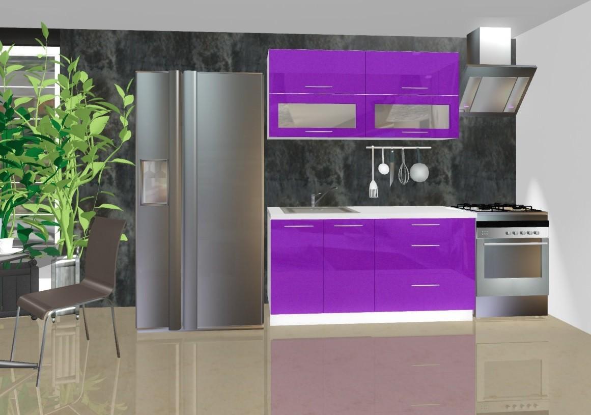 Rovná Emilia - Kuchyňský blok C, 1,6 m (fialová lesk)