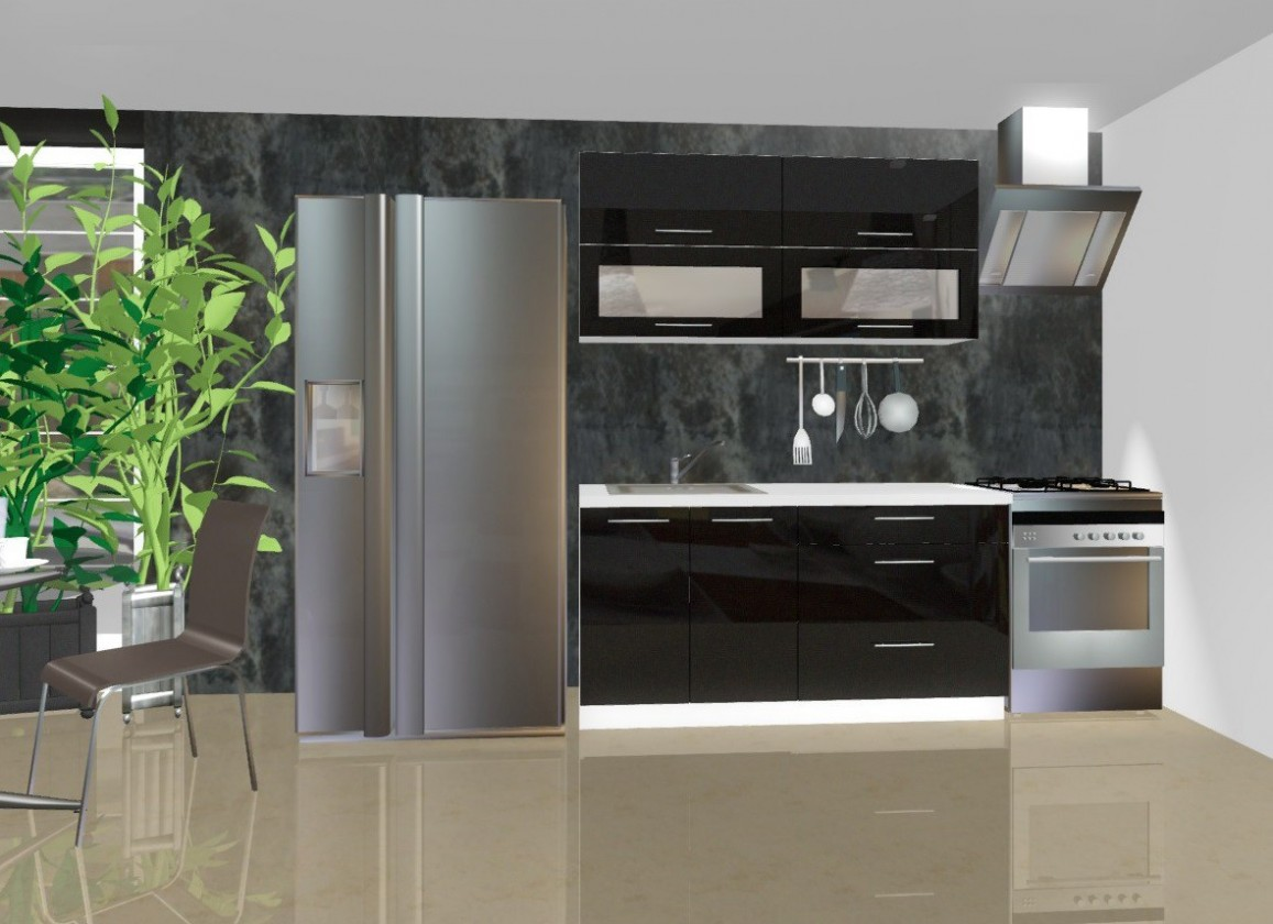 Rovná Emilia - Kuchyňský blok C, 1,6 m (šedá lesk)
