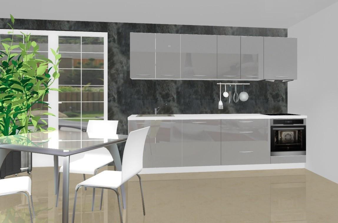 Rovná Emilia - Kuchyňský blok D pro vest. troubu, 2,8 m (šedá lesk)
