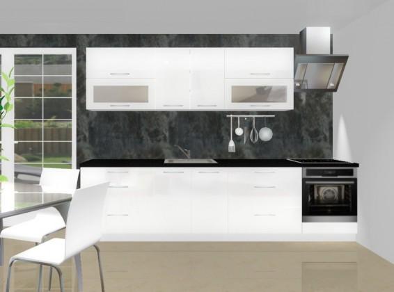 Rovná Emilia - Kuchyňský blok D pro vest. troubu, 3 m (bílá lesk)