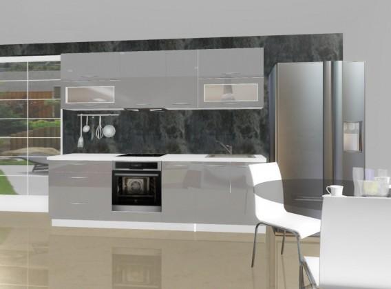 Rovná Emilia - Kuchyňský blok E pro vest. troubu, 2,6 m (šedá lesk)
