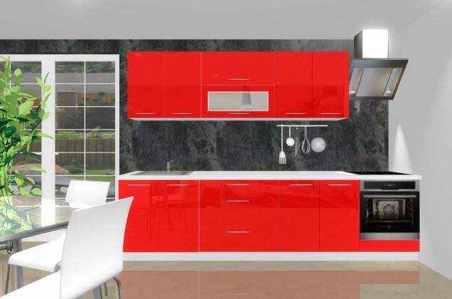 Rovná Emilia - Kuchyňský blok E pro vest. troubu, 3 m (červená lesk)