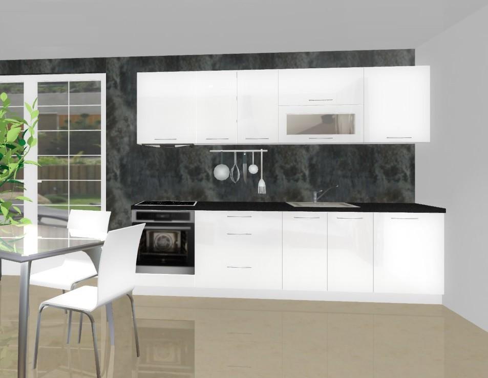 Rovná Emilia - Kuchyňský blok F pro vest. troubu, 2,8 m (bílá lesk)