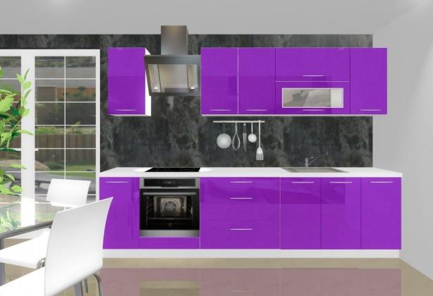 Rovná Emilia - Kuchyňský blok G pro vest. troubu, 3 m (fialová lesk)