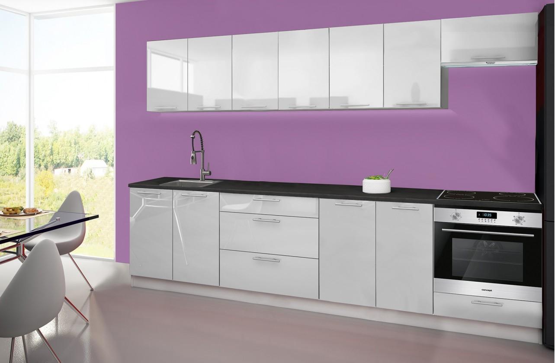 Rovná Emilia - Kuchyňský blok H, 300 cm (bílá, PD černá)