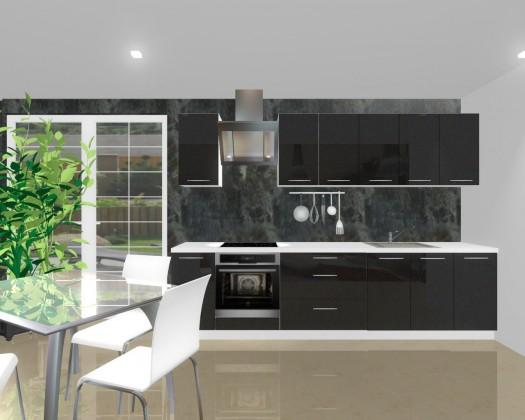 Rovná Emilia - Kuchyňský blok H pro vest. troubu, 3 m (černá lesk)
