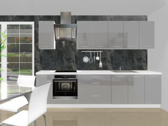 Rovná Emilia - Kuchyňský blok H pro vest. troubu, 3 m (šedá lesk)
