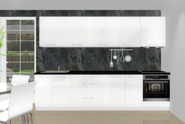 Rovná Emilia - Kuchyňský blok K pro vest. troubu, 3 m (bílá lesk)