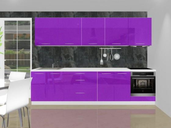 Rovná Emilia - Kuchyňský blok K pro vest. troubu, 3 m (fialová lesk)