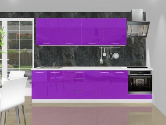 Rovná Emilia - Kuchyňský blok L pro vest. troubu, 3 m (fialová lesk)