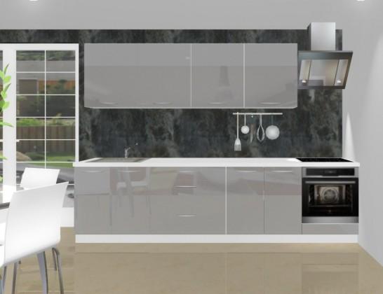Rovná Emilia - Kuchyňský blok L pro vest. troubu, 3 m (šedá lesk)