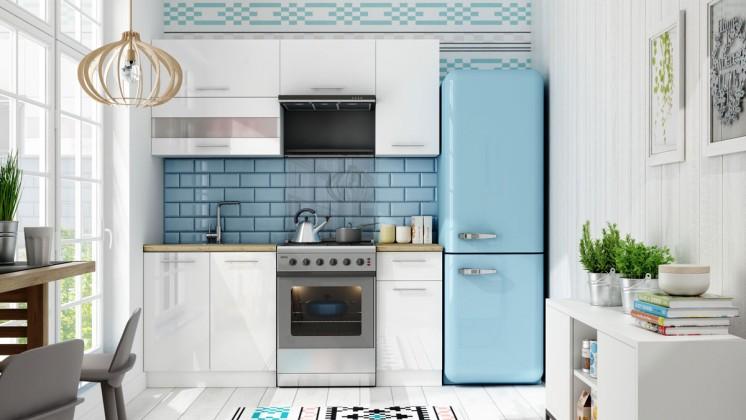 Rovná Kuchyně Aurora - 180 cm (bílá vysoký lesk)