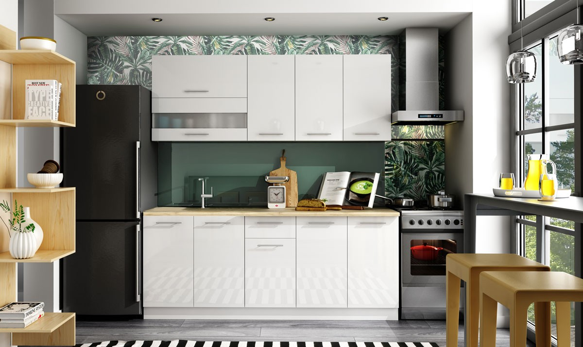 Rovná Kuchyně Aurora - 200 cm (bílá vysoký lesk)