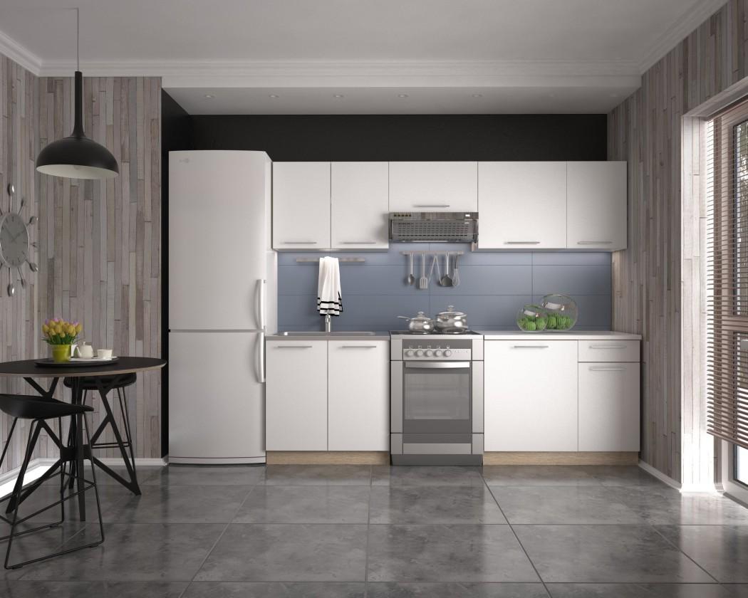 Rovná Kuchyně Daria - 240 cm (bílá/dub sonoma)