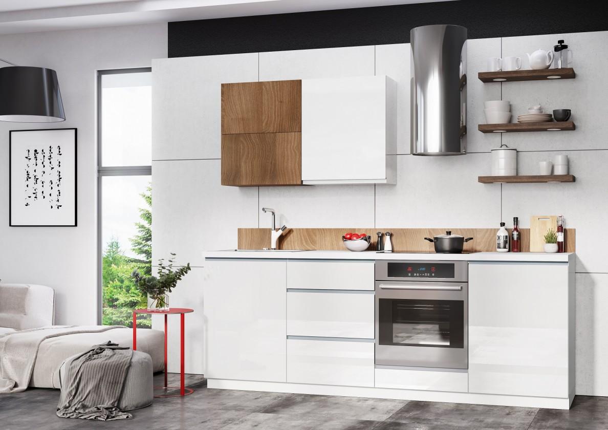 Rovná Kuchyně Elza - 240 cm (bílá vysoký lesk/akácie)