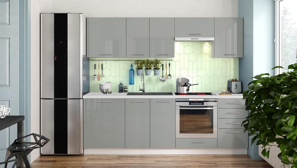 Rovná Kuchyně Emilia Lux - 240 cm (šedá vysoký lesk)