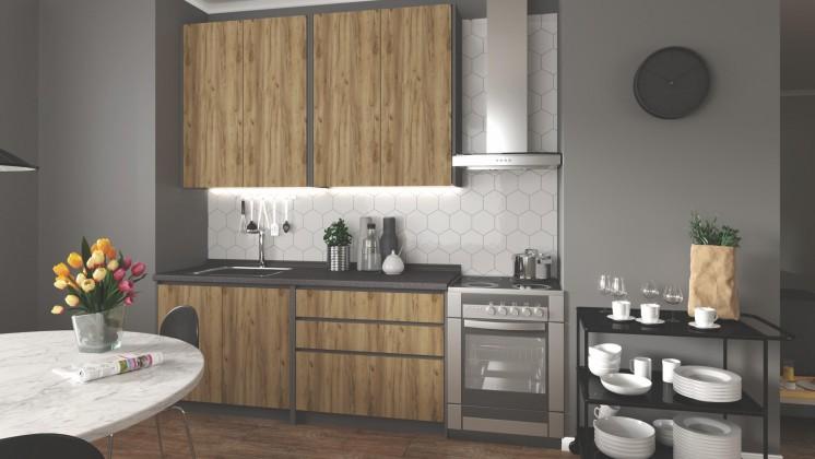 Rovná Kuchyně Idea - 180 cm (dub wotan/šedá)
