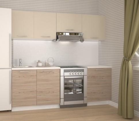 Rovná Kuchyně Katia - 220 cm (béžová/dub san marino)